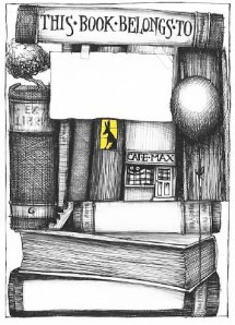 stacked books bookplate