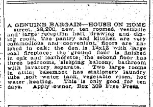 ad for house on Home Street